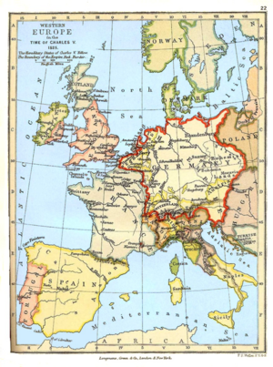 Greater Germanic Reich - Western Europe in the time of Charles V (1525): the Holy Roman Empire is marked by the red borders