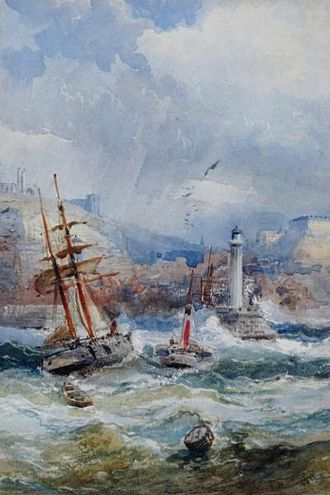 """Frederick Booty - """"Whitby"""", a watercolour painting by Frederick Booty from 1886."""