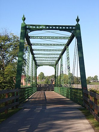 Plainfield, Indiana - An old, restored truss bridge along the White Lick Creek Trail in Plainfield