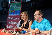 Wikimania 2016 - Press conference with Jimmy Wales and Katherine Maher 09.jpg