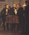 Wilhelm Marstrand - Musikalsk aftenselskab hos grosserer Waagepetersen (Udsnit med C.E.F. Weyse) - 1834.png