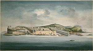 Frederick escape - Macquarie Harbour Penal Station, depicted by convict artist William Buelow Gould, 1833