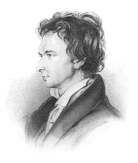 William Hazlitt in 1825 (engraving derived from a chalk sketch by William Bewick). William Hazlitt portrait.jpg