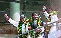 Winners Hurley Haywood, Mauro Baldi & Yannick Dalmas on the podium at the 1994 Le Mans (31933290306).jpg