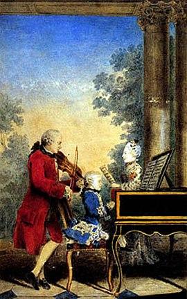 Mozart au clavecin, son père et sa soeur
