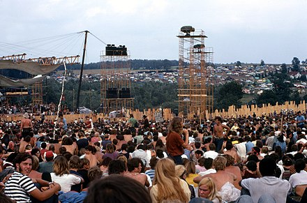 Part of the crowd at the Woodstock Music and Art Fair in 1969.