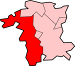Malvern Hills shown within Worcestershire