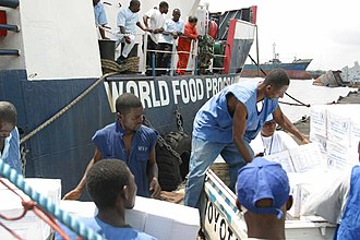 Joint Task Force Liberia - World Food Programme unloads humanitarian aid at the Freeport of Monrovia during JTF Liberia.