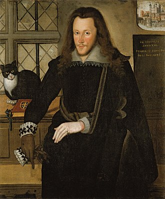 "Henry Wriothesley, 3rd Earl of Southampton - Henry Wriothesley, 3rd Earl of Southampton, in the Tower of London in 1603, attributed to John de Critz. A small painting of the Tower of London is shown in the top-right background, above the Latin words: In vinculis invictus (""in chains unconquered"") February 8, 1600; 601; 602; 603 April. The arms of Wriothesley (Azure, a cross or between four hawks close argent) are"