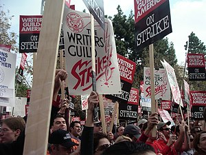 Effect of the 2007–08 Writers Guild of America strike on television - November 2007 striking writers and supporters rally in Los Angeles