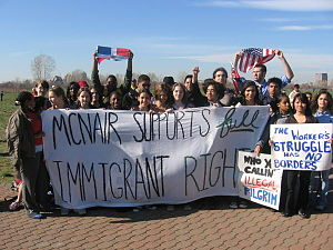 2006 United States immigration reform protests - Students Of Jersey City's McNair Academic High School gather to protest the proposed H.R. 4437 at Liberty State Park after walking out of their school at 2:00 pm on April 10, 2006.