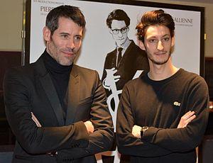 Yves Saint Laurent (film) - Director Jalil Lespert and lead actor Pierre Niney at the film's premiere in Paris.