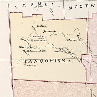 Yancowinna County - Yancowinna, shown in a map from 1886