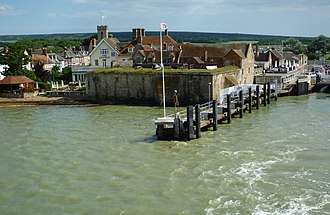 Yarmouth Castle - The castle seen from the sea; the bulwark and the quay battery would have been positioned on the left and right of the castle respectively