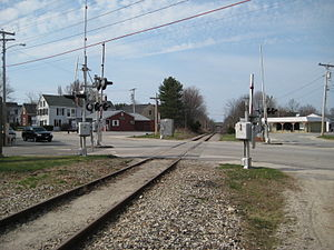 St. Lawrence and Atlantic Railroad - A stretch of the railroad passing through Yarmouth, Maine, beside Yarmouth Station, looking north.
