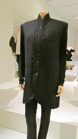 Nehru jacket - Japanese pinstripe Nehru suit, 1990s.