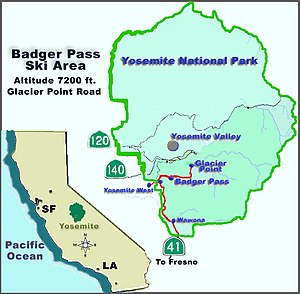 Badger Pass Ski Area - Image: Yosemite map