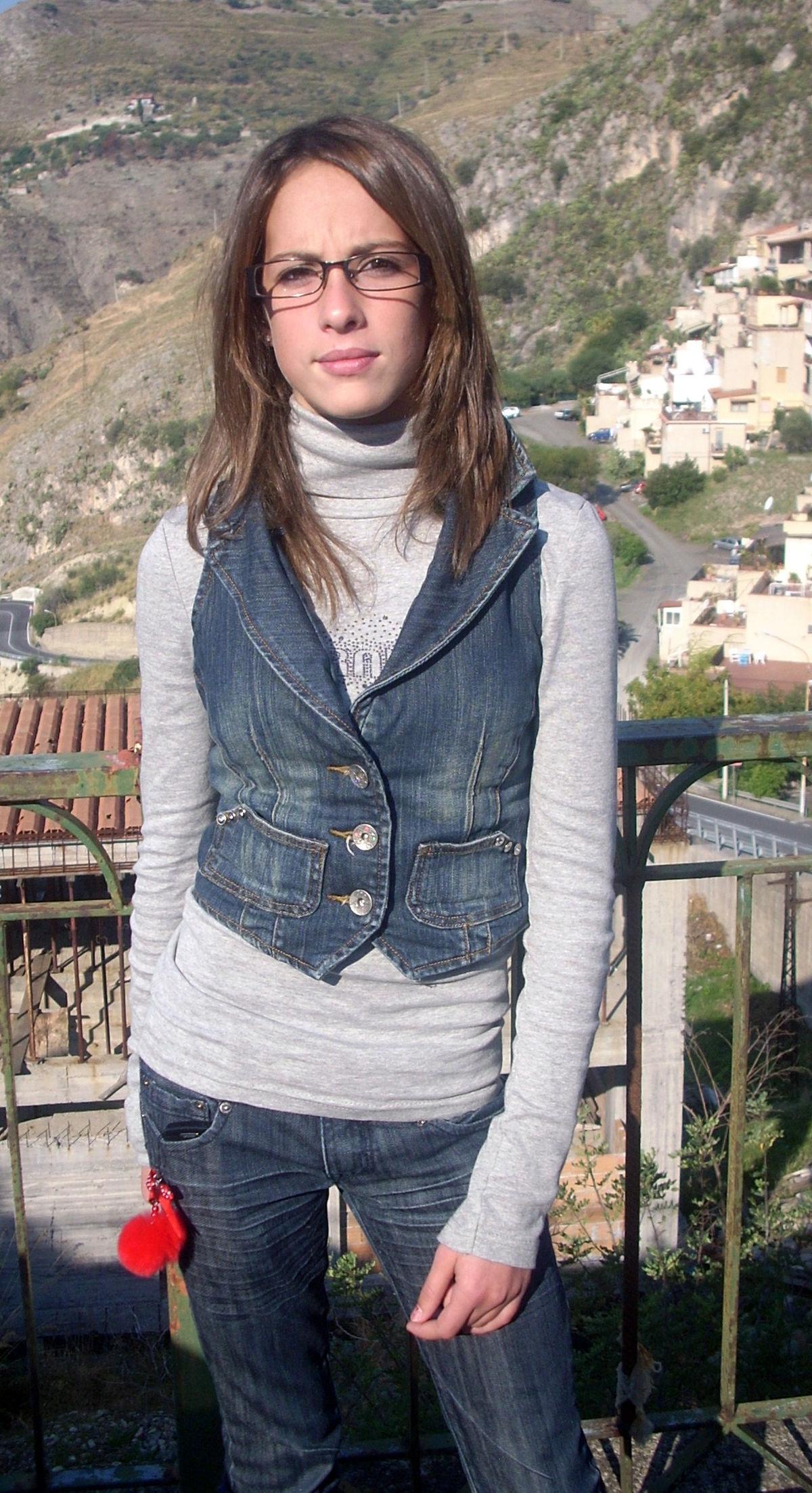 Young girl denim waistcoat.JPG