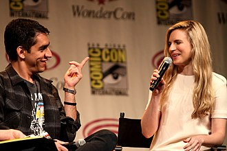 Brit Marling - Marling with her frequent collaborator Zal Batmanglij speaking at the 2012 WonderCon in Anaheim, California.
