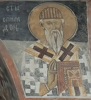 Saint Spyridon - Fresco icon of St. Spiridon at Zemen Monastery, Bulgaria.