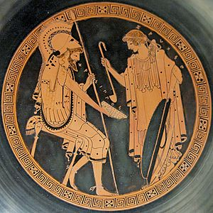 Chrysippus (mythology) - Zeuxo pours wine to Chrysippus. Interior from an Attic red-figured kylix, ca. 490-480 BC. From Capua.