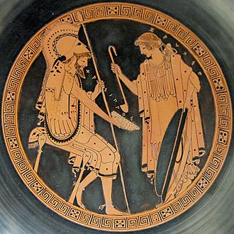 "Brygos Painter - Zeuxo and Chrysippos, tondo of a red-figure kylix, c. 490/480 BCE. From the ""Brygos Tomb"" (Tomb II), Capua. London, British Museum."