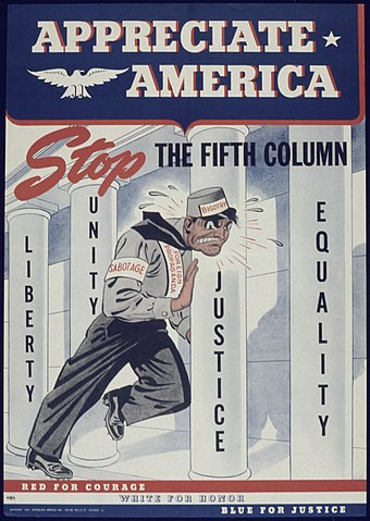 "World War II poster from the United States ""Appreciate America Stop the Fifth Column"" - NARA - 513873.jpg"