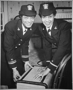 """Lt.(jg.) Harriet Ida Pickens and Ens. Frances Wills, first Negro Waves to be commissioned. They were members of the fin - NARA - 520670"