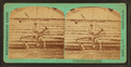 """""""Punishment Horse Bridger"""" (showing soldier on wooden horse holding oversized wooden sword over his shoulder in front of log building), by C. W. Carter.png"""