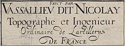 'Faict par Vassallieu dit Nicolay' detail from the 1609 Vassallieu map of Paris.jpg
