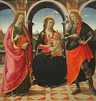 Davide Ghirlandaio - 'The Virgin and Child with Saints Apollonia and Sebastian', tempera on panel painting by Davide Ghirlandaio, 1490s, Philadelphia Museum of Art.