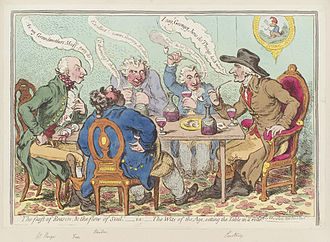 Wit - 'The feast of reason, and the flow of soul,' - i.e. - the wits of the age, setting the table in a roar, by James Gillray (1797)