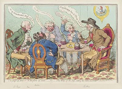 'The feast of reason, and the flow of soul,' - ie - the wits of the age, setting the table in a roar by James Gillray