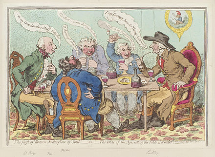 'The feast of reason, and the flow of soul,' - i.e. - the wits of the age, setting the table in a roar, by James Gillray (1797)