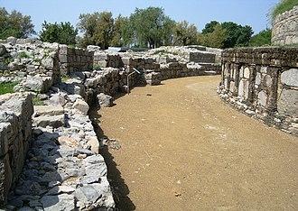 Dharmarajika Stupa - The passageway between the main stupa and several smaller stupas was used for the practice of pradakshina.
