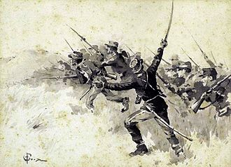Charge (warfare) - Greek infantry charge with the bayonet during the Greco-Turkish War of 1897