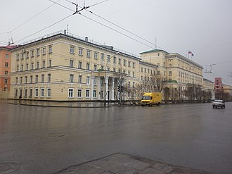 Murmansk Oblast - Oblast Administration (right) and City Administration (left) buildings on Lenina Avenue, Murmansk