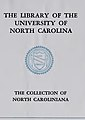 """THE LIBRARY OF THE UNIVERSITY OF NORTH CAROLINA"" ""THE COLLECTION OF NORTH CAROLINIANA"" ""LUX LIBERTAS"" bookplate - List of registered motor vehicle owners, North Carolina (IA listofregistered00nort) (page 2 crop).jpg"