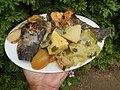 0099Nilagang repolyo, petsay Tagalog, kamote, patatas, kamatis at Pritong Dalag (Bulig) sa tanglad 05.jpg