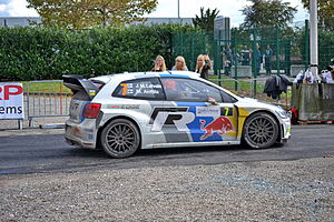 Jari-Matti Latvala at the Colmar service park during the2013 Rallye de France—Alsace.