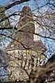 03 2019 photo Paolo Villa - F0197970 - Budapest - Castello Vajdahunyad - torre - tetto - caditoie - machicolation - neogotico - alberi.jpg