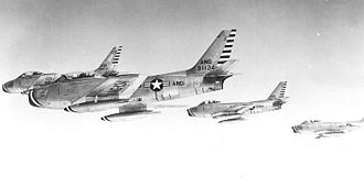 128th Air Refueling Wing - 126th Fighter-Interceptor Squadron - F-86A Sabre formation, 1954