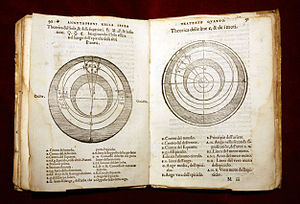 Geocentric model - Pages from 1550 Annotazione on Sacrobosco's Tractatus de Sphaera, showing the Ptolemaic system.