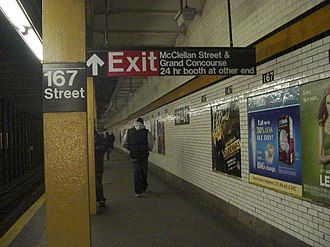 167th Street (IND Concourse Line) - Southbound station platform