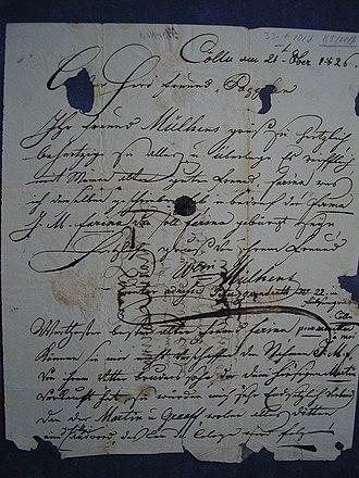 Wilhelm Mülhens - Letter from Wilhelm Mülhens on 21 October 1826