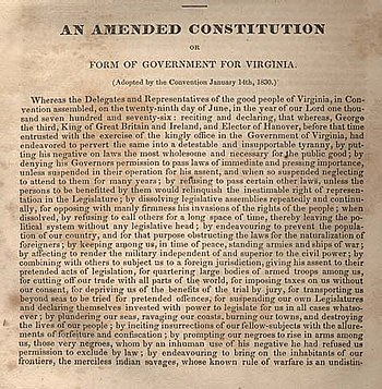 English: 1830 Constitution of Virginia, Page 1
