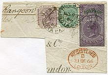 Envelope with postmarks and three different stamps