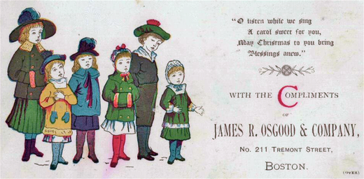 A Christmas carol card, Boston, 1880. 1880 Christmas Osgood.png