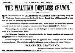 1892 Parmenter Crayon ad Waltham Massachusetts