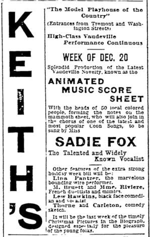 Keith's Theatre (Boston) - Image: 1897 Keiths theatre Boston Evening Transcript December 17